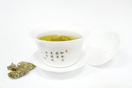 White bowl and tea
