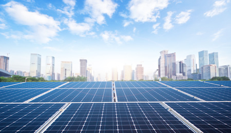 Photo for Modern city and solar panels - Royalty Free Image
