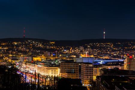 Stuttgart Cityscape Landscape Capital City Baden Wuerttemberg Day Night Sky Buildings Far TV Tower Hills Kessel