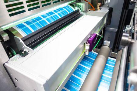 Photo pour Industrial Label Printing Equipment Closeup Detail - image libre de droit