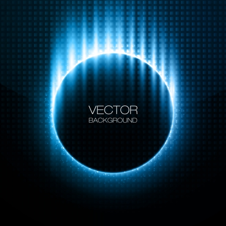 Shiny circles with blue rays behind dark design