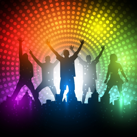 Illustration for  Party People  Background - Dancing Young People - Royalty Free Image