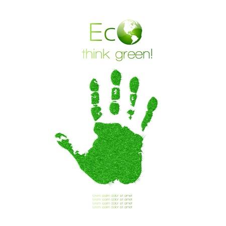 Green handprint made from grass  Think Green  Ecology Concept    Illustration
