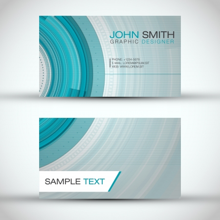Abstract Technology Circles Business Card Set