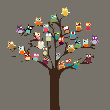 Photo for Cute Owl on Tree   Vector Background - Royalty Free Image