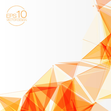 3d Orange Abstract Mesh Background With Circles Lines And