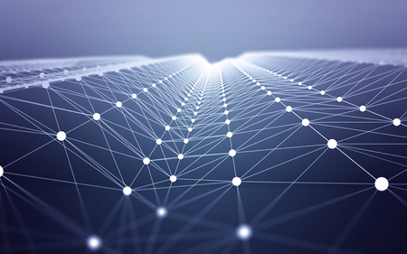 Photo pour 3D Abstract Polygonal Space Blue Background with White Low Poly Connecting Dots and Lines. Endless Mesh Representing Internet Connections in Cloud Computing. - image libre de droit