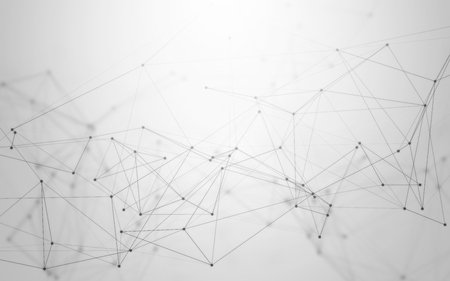 Foto de 3D Abstract Polygonal Space Black and White Background with Grey Low Poly Connecting Dots and Lines. Endless Mesh Representing Internet Connections in Cloud Computing. - Imagen libre de derechos