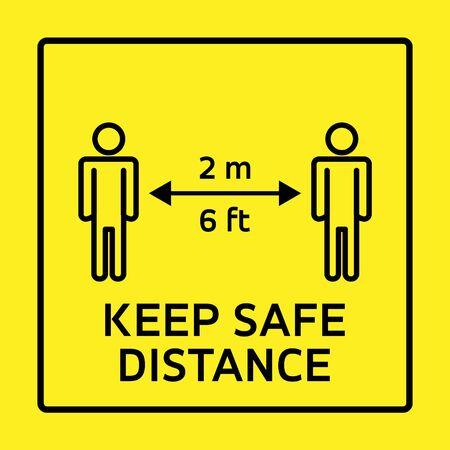 Illustration pour Safety measure keep safe distance sign, coronavirus pandemic precaution vector illustration - image libre de droit