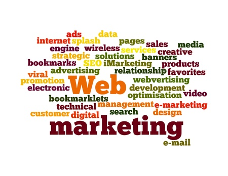 Word Cloud Illustration of Web Marketing on white