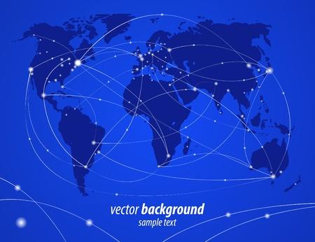 illustration night travel world map