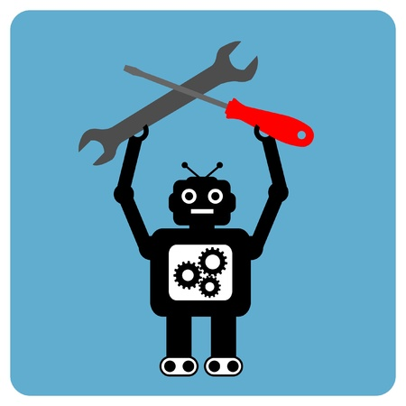 Modern robot with wrench and screwdriver