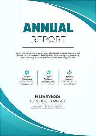 Illustration pour Annual report brochure with wavy shapes. Modern anual report brochure - image libre de droit