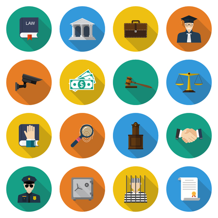Law icons. Set of elements and symbols law and justice. Modern design vector illustration flat icon