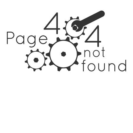 Page not found Error 404. Key repair gear. Vector illustration