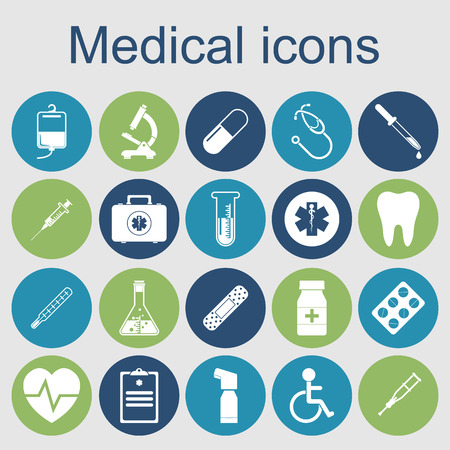 Ilustración de medical icons. medical equipments, tools. concept health and treatment. Vector illustration - Imagen libre de derechos