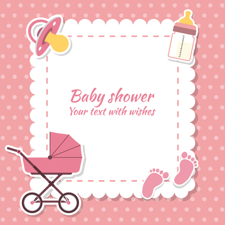 Baby shower girl, invitation card. Place for text.  Greeting cards