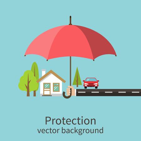 Illustration pour Concept of security of property, flat design. Agent holding umbrella over house. Insurance home, car, money. Vector illustration. - image libre de droit