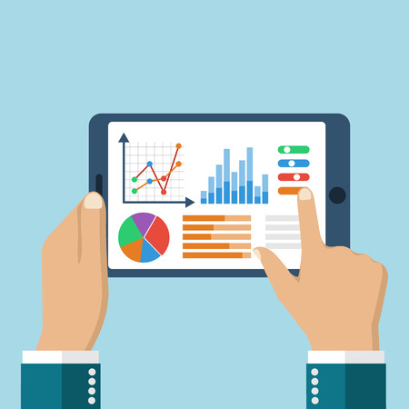 Illustration pour The tablet in the hands of a businessman with statistical data presented in the form of digital graphs and charts. Financial analysis, statistics. Vector illustration, flat design. Statistics concept. - image libre de droit