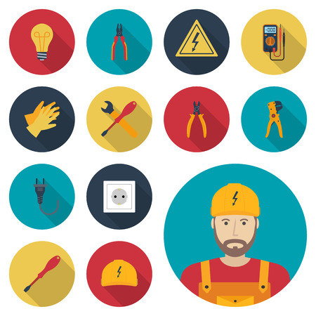 Illustration pour Electricity set icon flat. Icons electric tools, equipments and maintenance. Signs of work safety. Colored icons isolated with shadow. Avatar electrician. Vector illustration, flat design. - image libre de droit