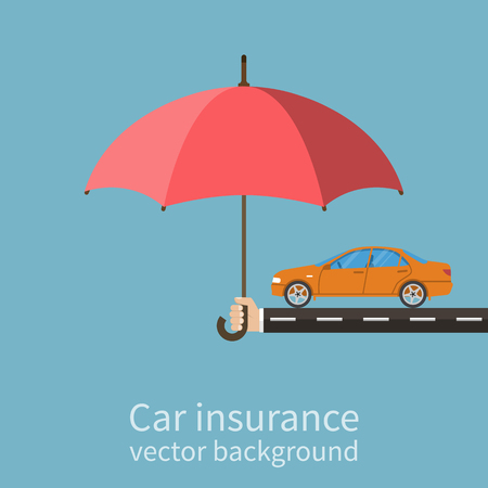 Illustration for Hand insurer with an umbrella that protects the car. Safety Concept Car. Insurance car. Flat style, vector illustration. - Royalty Free Image
