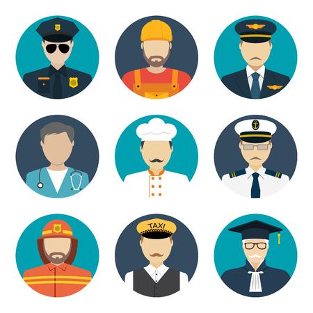 Illustration pour Avatars profession people: cop, builder, pilot, doctor, cook, sailor, fireman, taxi driver, judge. Face men uniform. Avatars in flat design. Vector illustrations - image libre de droit