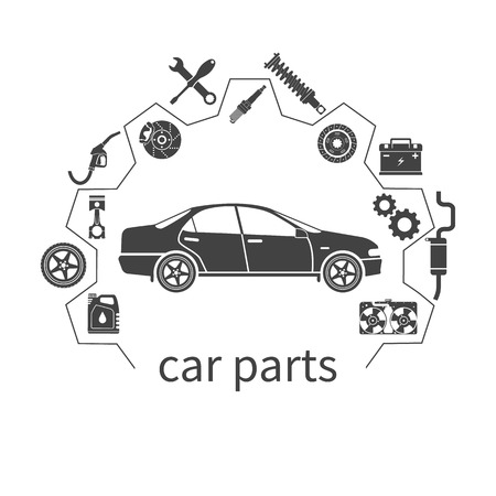 Illustration for Car parts. Set icons auto spare parts for repairs. Vector illustration. Concept car and spare parts. Can be used as a logo store for the sale of spare parts, web banner, print. Vector - Royalty Free Image