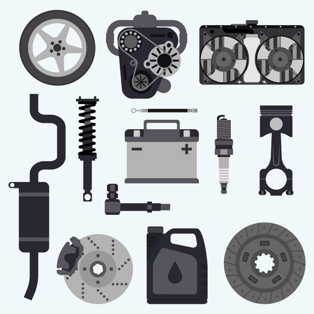 Set auto parts. Automobile systems. Set parts for car repairs.  Engine, wheel, piston, brake, battery, cooling, absorber, exhaust, radiator, suspension, candle, clutch. Vector illustration