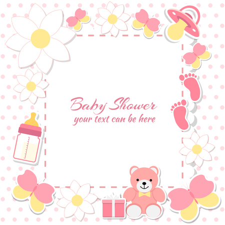 Illustration for Baby shower girl, invitation card. Place for text.  Greeting cards. Vector illustration. Teddy bear with a gift box, pink background, flowers. - Royalty Free Image