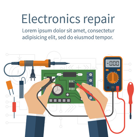 Illustration pour Electronics repair. Tester checking. Multimeter in hands of man. Calibration, diagnostics, maintenance, electronics repair and computer electronics. Vector flat design style. Service center, workshop. - image libre de droit