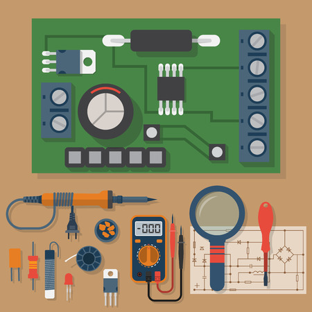Illustration pour Set for soldering chips. Solder, repair of electronic equipment. Vector flat design style. Tools electrician. Motherboard. Soldering iron, board, multimeter, circuit. - image libre de droit