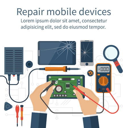Illustration pour Mobile phone repair. - image libre de droit