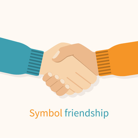 Handshake friends as a symbol of friendship. Vector illustration flat design. Partners shaking hands. Friendly relations. Handshake of men in agreement.のイラスト素材