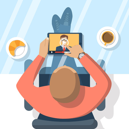 Illustration pour Webinar, online conference, lectures, education  and training in internet. Distance learning. Vector illustration flat design. Online presentation. Businessman hand tablet touching the screen. - image libre de droit