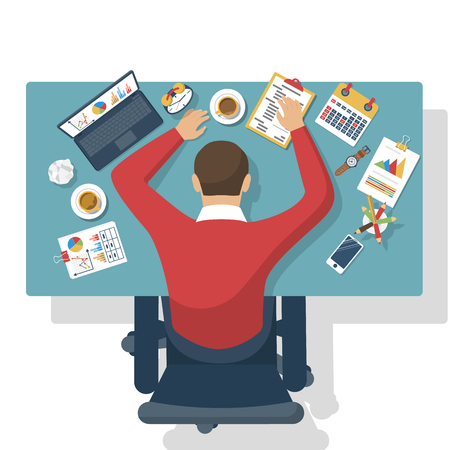 Illustration for Sleeping at work. Tired business man. Top view of the desktop, with office supplies, laptop and sleeping worker. - Royalty Free Image