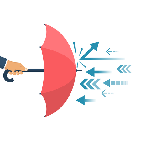 Illustration pour Protected from attack, concept. Defender business metaphor. Financial security. Businessman is holding an umbrella as a shield reflecting the attacks. - image libre de droit