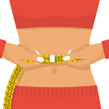 Woman of athletic build measures centimeter of waist. Health body. Good results of correct way of life, diet and sport. Vector illustration flat design. Isolated on white background. Beautiful female.