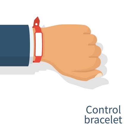 Illustration pour Red wristband on hand man - image libre de droit