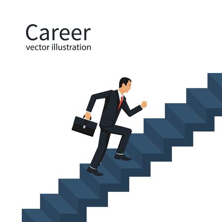 Illustration pour Businessman is climbing career ladder. - image libre de droit
