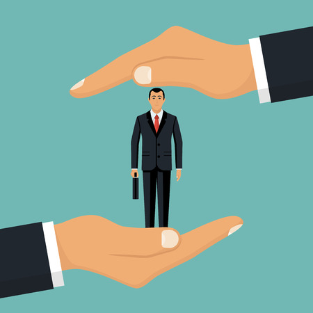 Illustration for Businessman in hands palm holds client. - Royalty Free Image