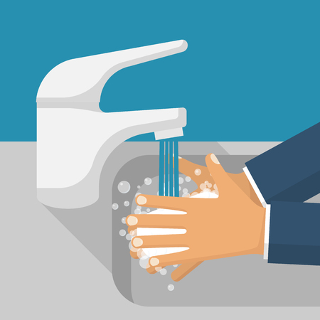 Illustration pour Wash hands in sink vector - image libre de droit