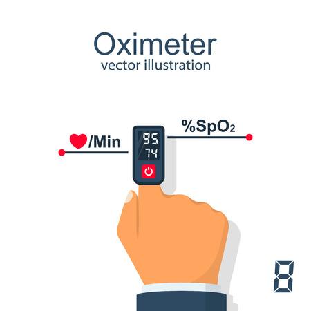 Oximeter on finger vector illustration.