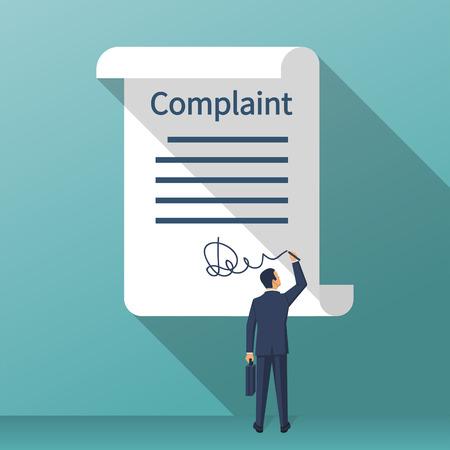 Photo pour Complaint concept. Man wrote a complaint. Vector illustration flat design. Measures to solve problems. Claim petition. Sign the document on the application. - image libre de droit