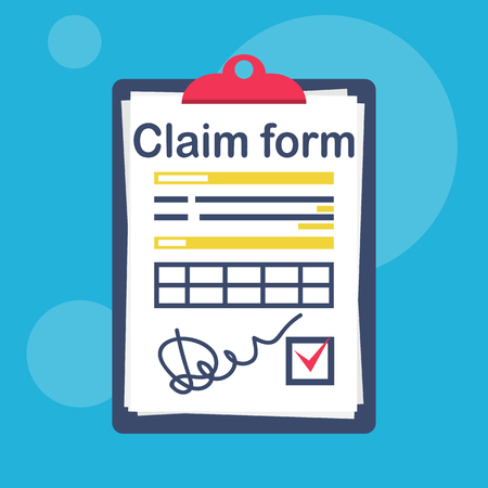 Illustration pour Insurance claim form with a check mark and a signature. Vector illustration flat design. Isolated on white background. Official document. Clipboard with sheets. - image libre de droit