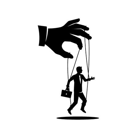 Illustration pour Manipulation concept black icon. Worker on ropes. Silhouette abuse of power. Vector illustration flat cartoon. Hand of puppeteer holding a little businessman on a leash. Control workers. - image libre de droit