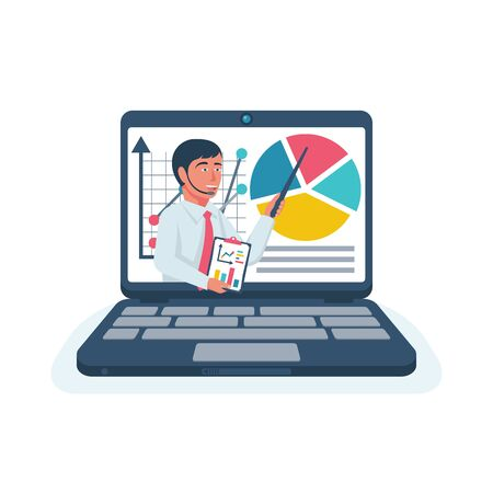 Illustration for Business training. Webiner concept. Human with charts on laptop - Royalty Free Image