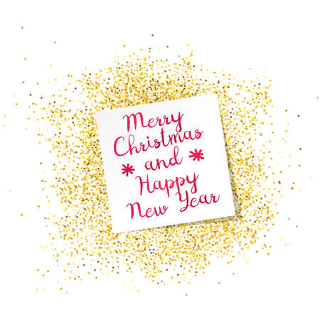 Illustration for Inscription Mary Christmas and Happy New Year on white sheet. Gold dust on the background. Template greeting card, label. Abstract background. Happy holiday. Calligraphic ornament. Vector flat design. - Royalty Free Image