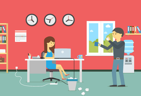 Woman working with a laptop and resting man with a coffee in the office Vector flat style illustration