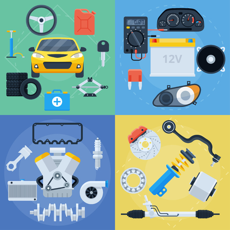 Illustration pour Big set of car repair service and spare parts icons. Electronics, engine, brakes, tyres and everything for car maintenance. Flat vector colorful illustrations - image libre de droit