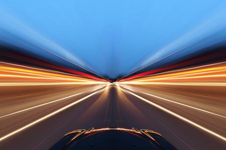 Photo pour car on the road with motion blur background - image libre de droit